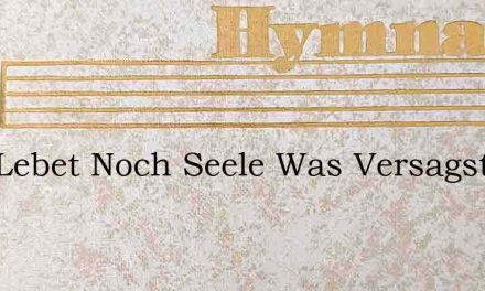 Gott Lebet Noch Seele Was Versagst Du Do – Hymn Lyrics