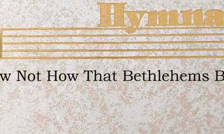 I Know Not How That Bethlehems Babe – Hymn Lyrics