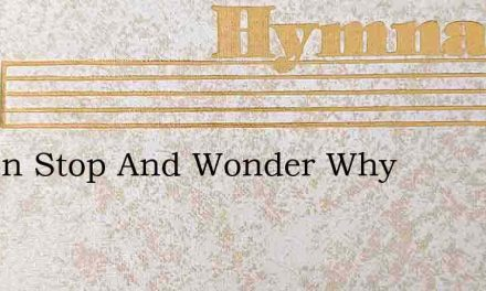 I Often Stop And Wonder Why – Hymn Lyrics