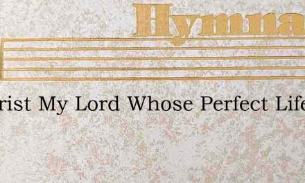 O Christ My Lord Whose Perfect Life – Hymn Lyrics