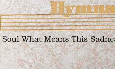 O My Soul What Means This Sadness – Hymn Lyrics