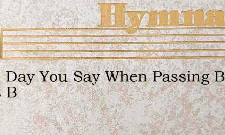 Some Day You Say When Passing By Souls B – Hymn Lyrics