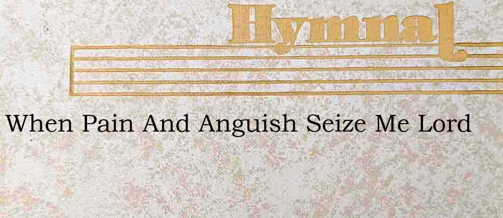 When Pain And Anguish Seize Me Lord – Hymn Lyrics