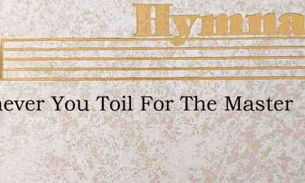 Whenever You Toil For The Master – Hymn Lyrics