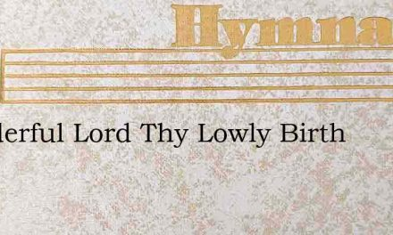 Wonderful Lord Thy Lowly Birth – Hymn Lyrics