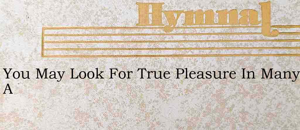 You May Look For True Pleasure In Many A – Hymn Lyrics